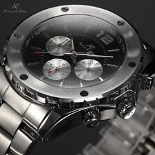 KS Black Date Day Stainless Steel Automatic Mechanical Sport Wrist Men Watch