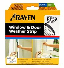 Raven WINDOW & DOOR WEATHER STRIP Self Adhesive Rubber Covers 2-4mm Gap 5m WHITE
