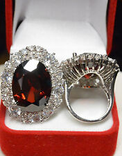 Grosse Bague T56 Ovale 35-25mm Marquise Rubis Cz Style Ancien Dolly-Bijoux