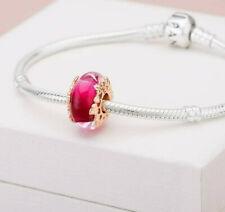 Genuine Pandora Rose Gold ALE R Pink Murano Glass & Leaves Charm 788244 PC172