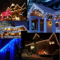 Kids Safe! Outdoor 10M Wide 400 LED Icicle Christmas Fairy Lights Blue & White