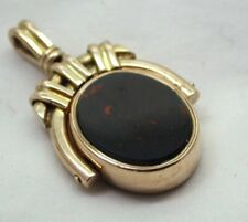 Antique 10 Carat Gold Carnelian And Blood Stone Agate Spinner Fob / Pendant