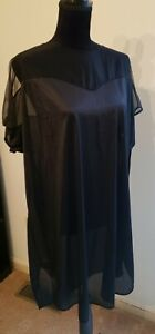 Vtg 80s NWT LANIQUE Nightgown Sleep Shirt Gown Sheer Black Plus Size 22/24