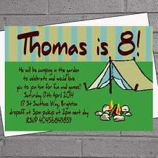 Camping Tent Sleepout Childrens Boys Birthday Party Invitations x 12 +envs H0176
