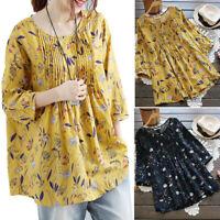 Plus Size Women's Printed Tunic Blouse Long Sleeve Loose Cotton Linen Shirt Tops