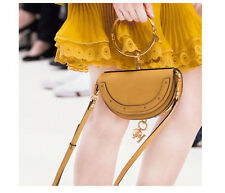 Gold Studded Small Half Moon Shaped Crossbody Saddle Bag With Gold Ring Handle