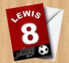 Personalised Red Football Shirt (Grandson/Son/Daughter/Brother) Birthday Card