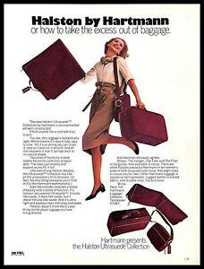 1974 Hartmann Halston Ultrasuede Luggage Vintage PRINT AD Baggage Bags Suitcases