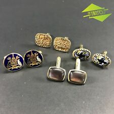4x PAIRS OF GENTS DRESS CUFFLINKS INCLUDING ENAMEL COAT OF ARMS GERMAN HICKOK