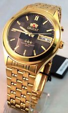Orient Gold Tone Day/Date Men's Automatic Watch Cut Glass Orient Box  Black Dial