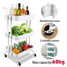 Kitchen Trolley Cart 3 Tier Storage Shelves Rolling Rack Utility Handles Wheels