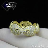 MEN WOMEN 925 STERLING SILVER FULL LAB DIAMOND ICED GOLD WEDDING BAND RING*GR79