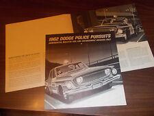 1962 Dodge Police Pursuits 8-Page Sales Catalog