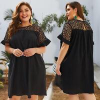 Plus Size Women Black Ruffle Sleeve Shift Dress Casual Ladies Lace Short Dresses