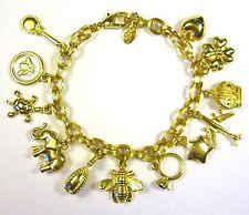 Vintage JOAN RIVERS Chunky Gold Tone Link Charm Bracelet Bee Heart Star Egg