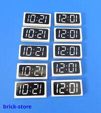 LEGO®  1x2 Fliese digital Uhr / 10 Stück