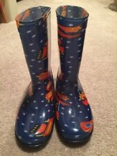 Kids Avon Stars Rockets Space Blue Pull On Rain Boots Size Medium New