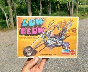 1971 Monogram Mattel Low Blow Mini-Bike Model Kit 1/8 Scale Box Chopper Cycle
