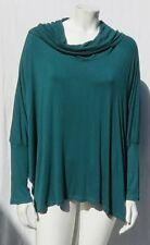CABLE & GAUGE Green Soft Stretch Thin Viscose Knit Cowl Batwing T Shirt Top XL