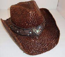 NEW PETER GRIMM BROWN FLINT SCROLL BAND RHINESTONE HEART STUD BANDED COWBOY HAT