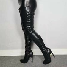 Sexy Women Thigh High Boots Black Heel Boots Over Knee Shoes Woman Size 4-20