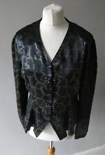 Vintage Retro 80S c&a Damen funkelnd Cloud Print Tunika Shirt Bluse Top 12 14 16