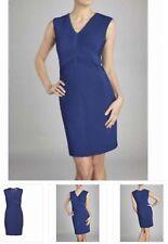 NEW Gina Bacconi Size 10 Navy Blue Jersey Stitch Pleated V Neck Evening Dress