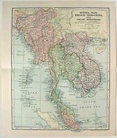 Southeast Asia - Original 1902 Map by Dodd Mead & Co. Indochina Malaya Siam