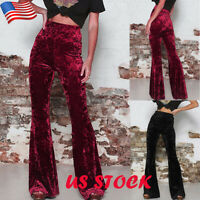 Womens High Waist Palazzo Wide Leg Trousers Lady Velvet Flared Bell Bottom Pants