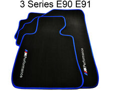 BMW 3 Series E90 E91 Black Floor Mats Blue Rounds With ///M Performance Logo NEW