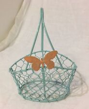 Small Blue Wire Basket With Butterfly Doll Basket Miniature Chicken Wire Cute