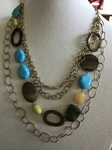 Fashion Necklace-turquoise , Brown Stones With 3 Gold Strands A-50