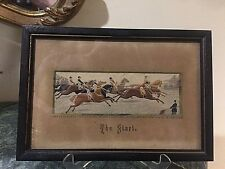 "Antique 1880's""The Start"" Stevengraph pure silk woven Art work by Thomas Stevens"