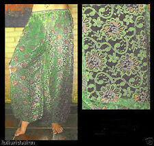 Harem Pants Belly Dance Lace Green w/ Silver & Gold Floral Pattern