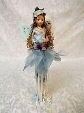 "Little Fairy Tassel Doll W/ Blue Stand Porcelain Head & Arms 10"" Tall"