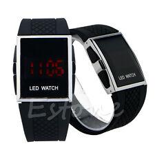 MENS WOMENS LCD LED WATCH Date Black Wrist Strap Digital Army Fashion Dress