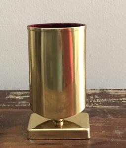 Vintage brass pencil holder/eyeglass desk holder--on pedestal--felt lined POH