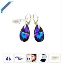 Sterling Silver 925 Blue Purple Swarovski Crystals Lever Back Earrings