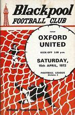Football Programme>BLACKPOOL v OXFORD UNITED Apr 1972