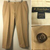Brooks Brothers Men's 42x32 Khaki Clark Advantage Chino Twill Pants Flat Front