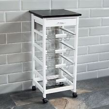 4 Tier Kitchen Trolley White Wooden Cart Basket Storage Drawer By Home Discount