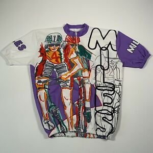 Vintage Multicoloured Miles Cyclist Short Sleeve Cycling Jersey - Size Medium
