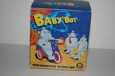 VERY NICE BABY'BOT TIN  WIND UP MOTORCYCLE RIDING ROBOT in ORIGINAL BOX