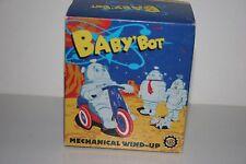 VERY NICE BABY'BOT TIN  WIND UP MOTORCYCLE RIDING ROBOT in ORIGINAL BOX