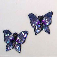 PURPLE BUTTERFLY SEQUIN BEADED APPLIQUE PAIR 2077-B