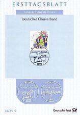 BRD 2012: Deutscher Chorverband! Ersttagsblatt der Nr. 2939 mit Bonner Stempel!