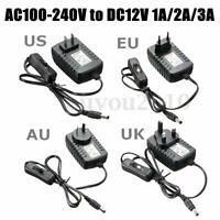 AC 100-240V to DC 12V 1A 2A 3A Power Supply Adapter Switch For Light LED