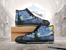 Starry Night, Painting, Van Gogh, Custom Made Black Canvas Shoes, Tennis Shoes