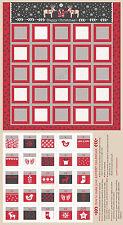 "Christmas Nordic Advent Calendar Cotton Fabric LEIC8-1 I Met Santa 24""X44"" PANEL"