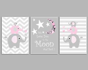 Baby Girl Pink & Grey Elephant Stacks / Set Of 3 Nursery Prints